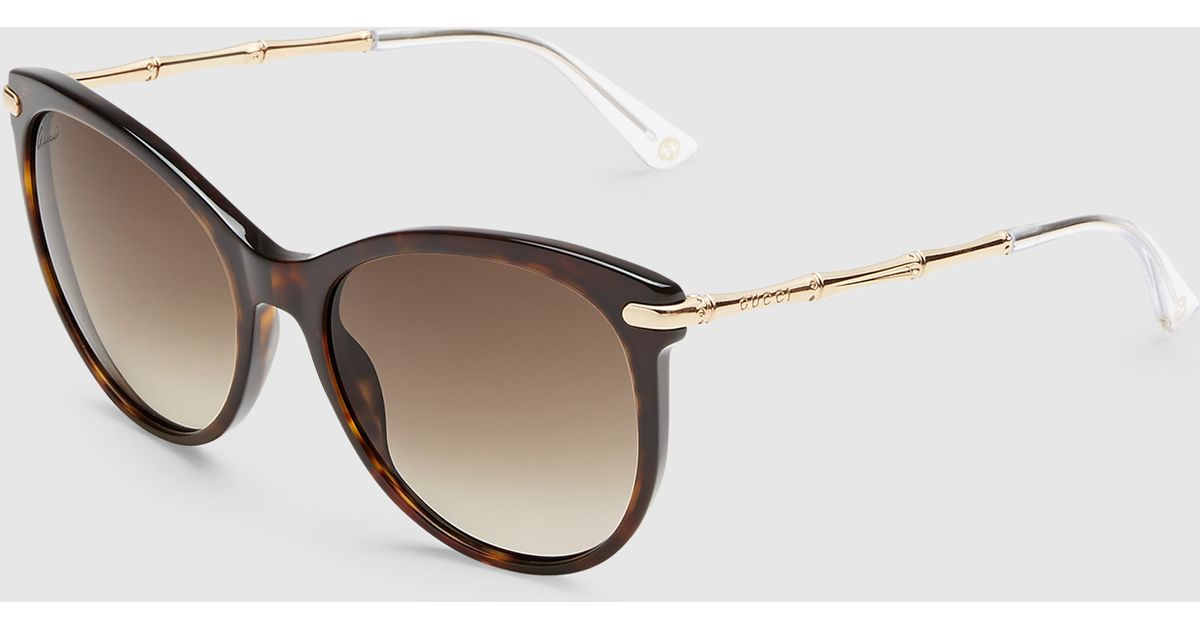 8c9a18d8f3fda Gucci Cat Eye Sunglasses With Metal Bamboo Temples in Brown - Lyst