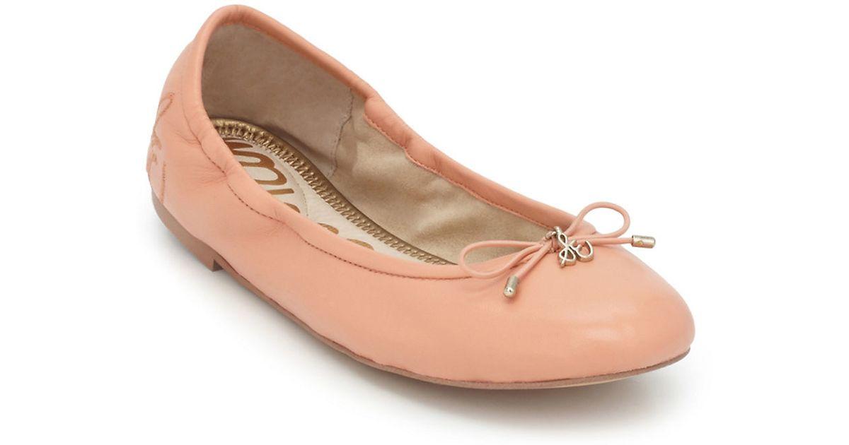 3dbb5fcb7f03b Sam Edelman Felicia Leather Ballet Flats in Pink - Lyst