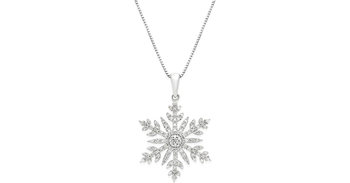 Macy S Diamond 1 3 Ct T W Snowflake Adjustable Pendant Necklace In Sterling Silver In Silver