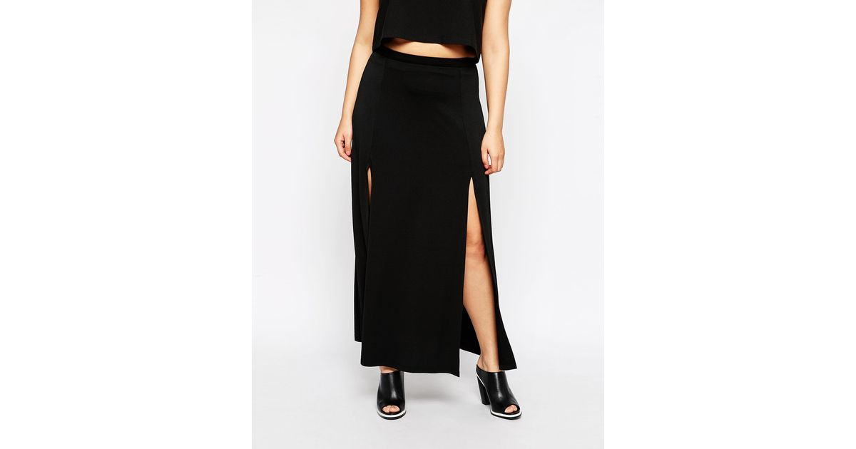 asos curve maxi skirt with split in black lyst