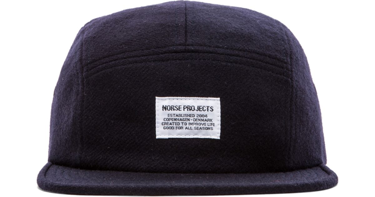 Lyst - Norse Projects Wool Flannel 5 Panel Hat in Blue 36548152fb0