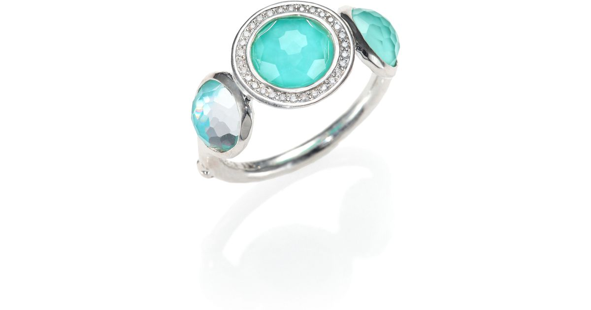 ippolita quartz turquoise diamond u0026 sterling silver trio ring in blue lyst