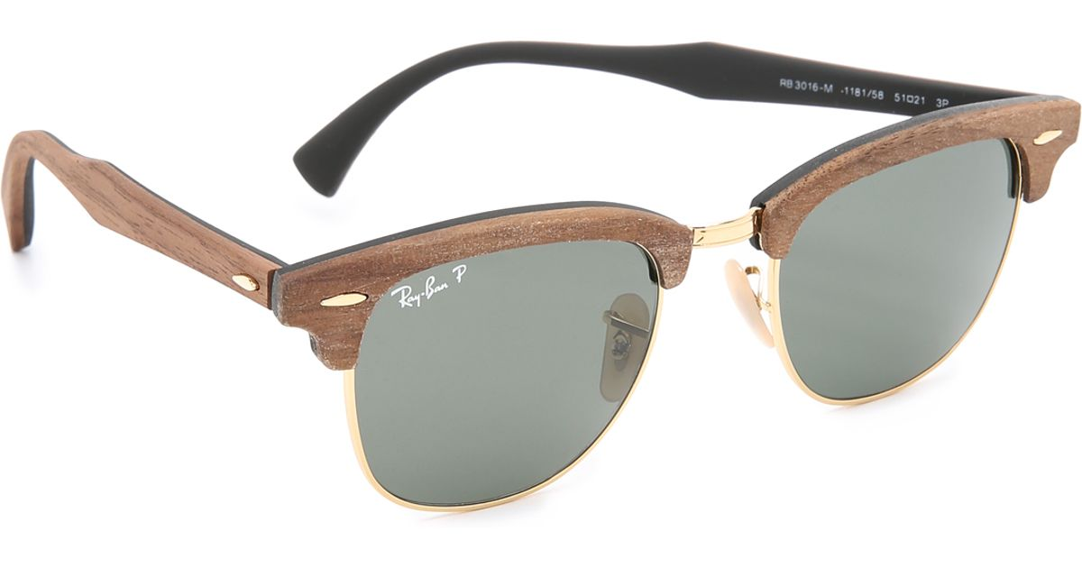 Lyst - Ray-Ban Wood Clubmaster Sunglasses in Brown for Men