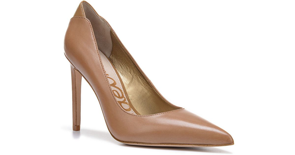 60f13007375062 Sam Edelman Dea Leather Point Toe Pumps in Natural - Lyst