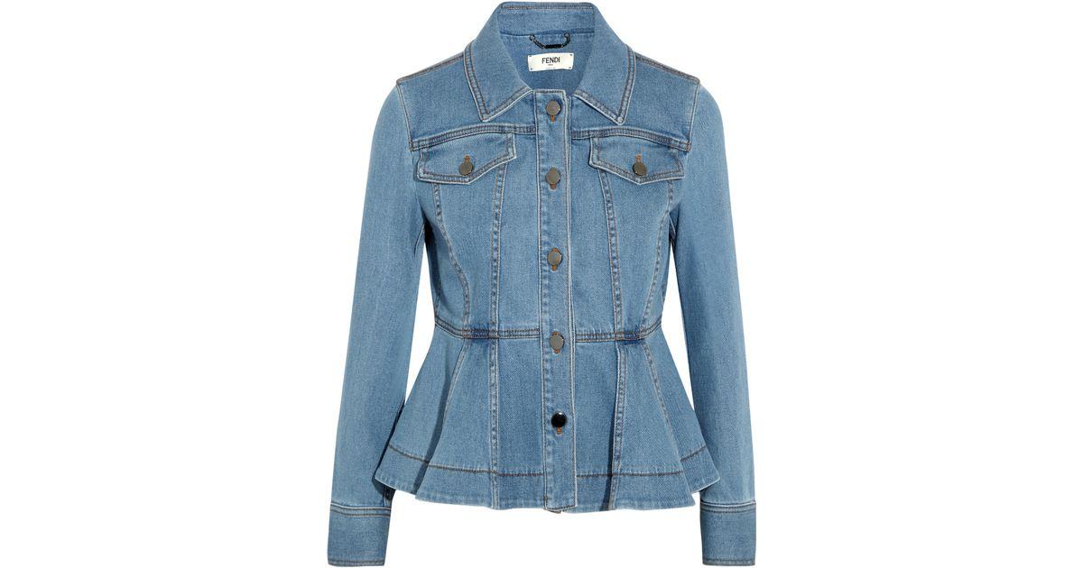 11c985d2e3c Lyst - Fendi Stretch-denim Peplum Jacket in Blue