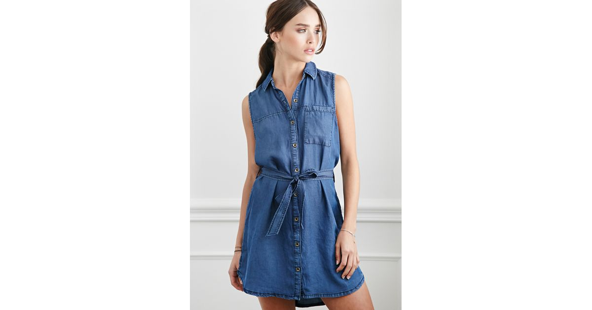 Lyst forever 21 belted chambray shirt dress in blue for Belted chambray shirt dress