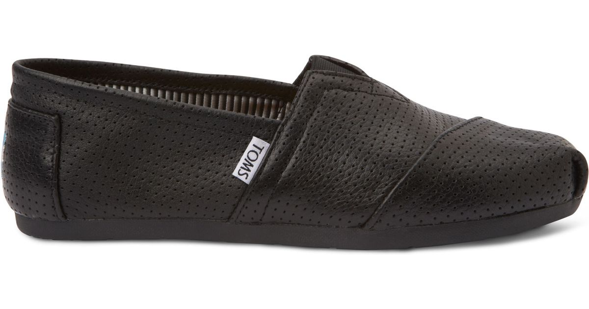 TOMS Black Perforated Leather Men's