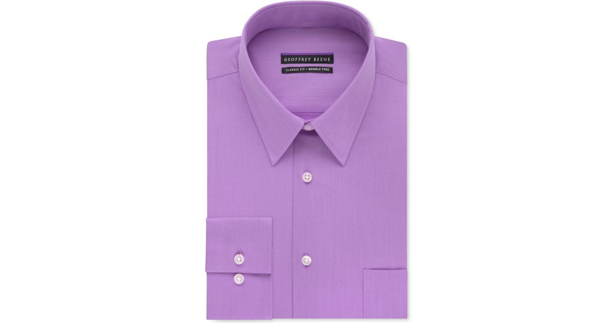 Lyst geoffrey beene men 39 s classic fit wrinkle free Light purple dress shirt men