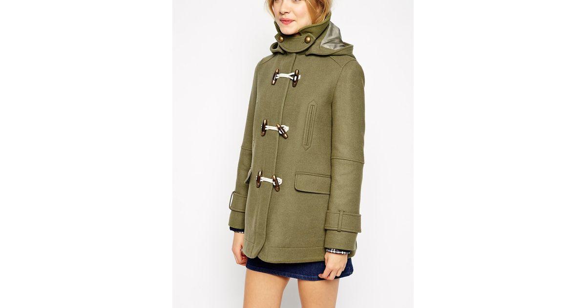 Asos Swing Duffle Coat In Wool Twill in Green   Lyst