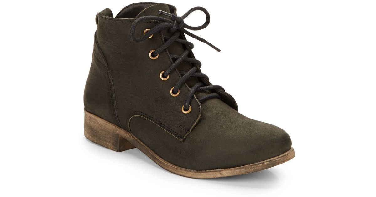 classic styles offer discounts the sale of shoes Steve Madden Brown Rubin Leather Lace-Up Ankle Boots/Black for men