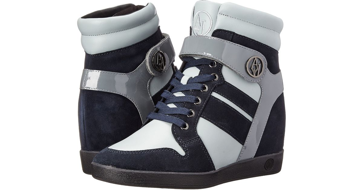 armani jeans wedge sneaker in blue lyst. Black Bedroom Furniture Sets. Home Design Ideas