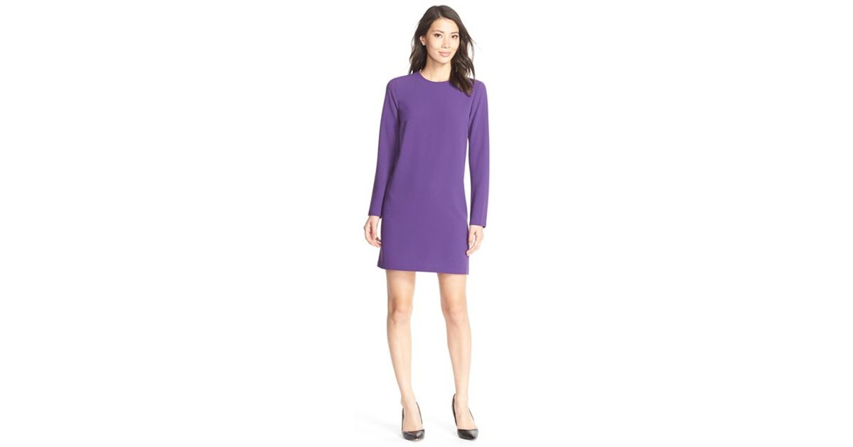 bfe88706b730 Lyst - Felicity   Coco Long Sleeve Crepe Shift Dress in Purple