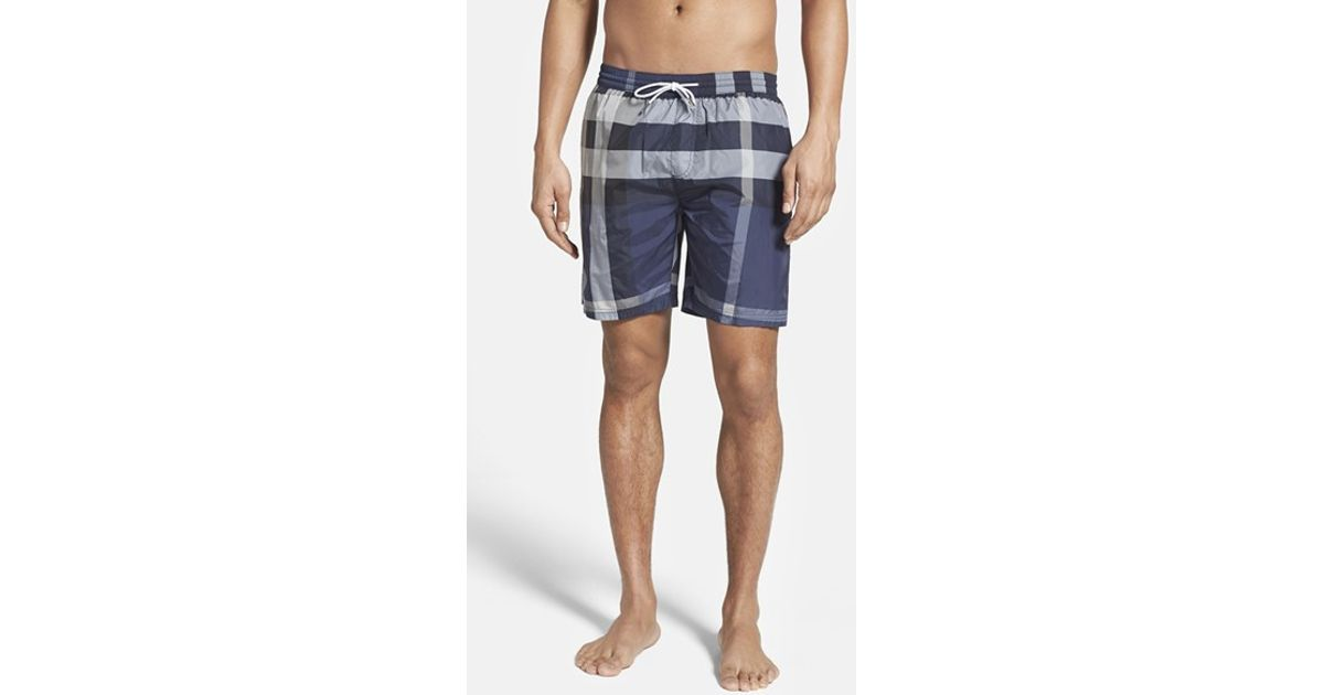 9d6772698eb5 Lyst - Burberry Brit  gowers  Check Swim Trunks in Blue for Men