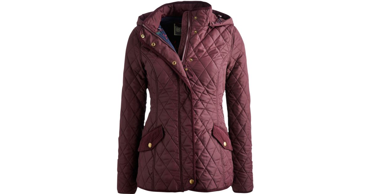Lyst Joules Marcotte Hooded Quilt Jacket In Purple