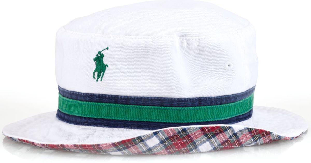 120a1ea86fbc5 Lyst - Polo Ralph Lauren Reversible Tartan Bucket Hat in White for Men