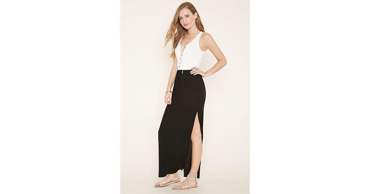forever 21 m slit maxi skirt in black lyst