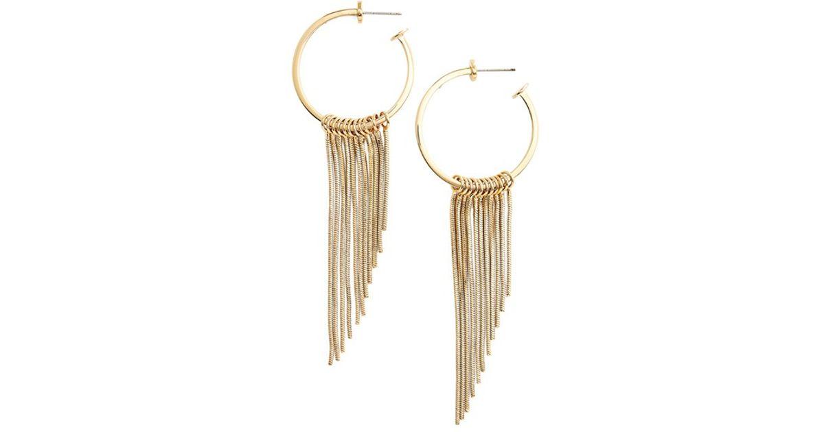 7447bb59c Lyst - Rebecca Minkoff Fringe Hoop Earrings in Metallic