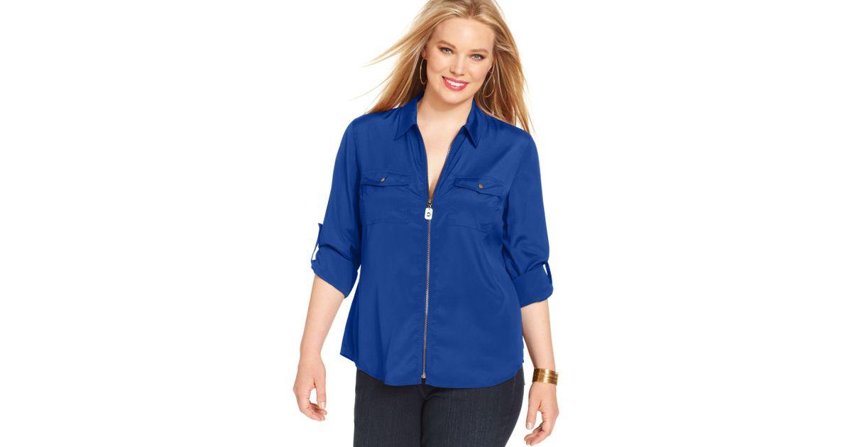 d3f6a46ae44 Michael Kors Blue Michael Plus Size Longsleeve Zipfront Utility Shirt