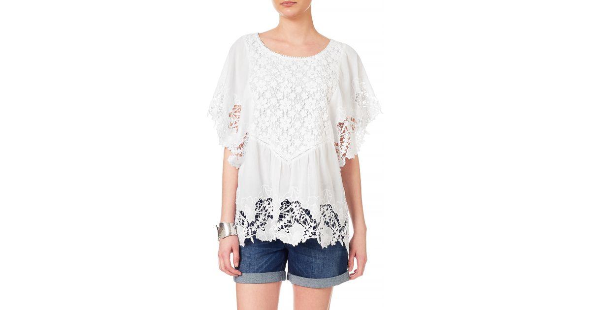 1450746e6f5 Phase Eight Milena Crochet Bib Blouse in White - Lyst