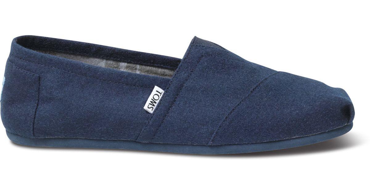 TOMS Navy Wool Men'S Classics in Blue