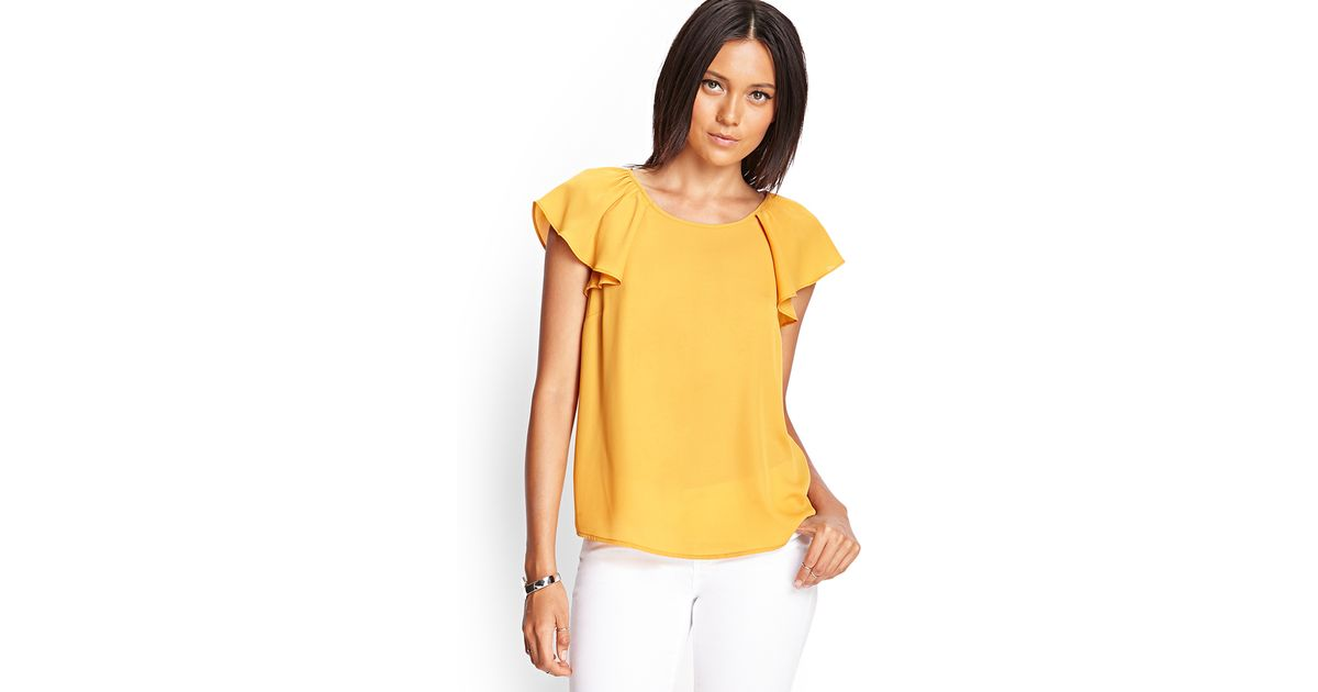 f4d33c952c0 Forever 21 Source · Lyst Forever 21 Flutter Sleeve Blouse in Yellow