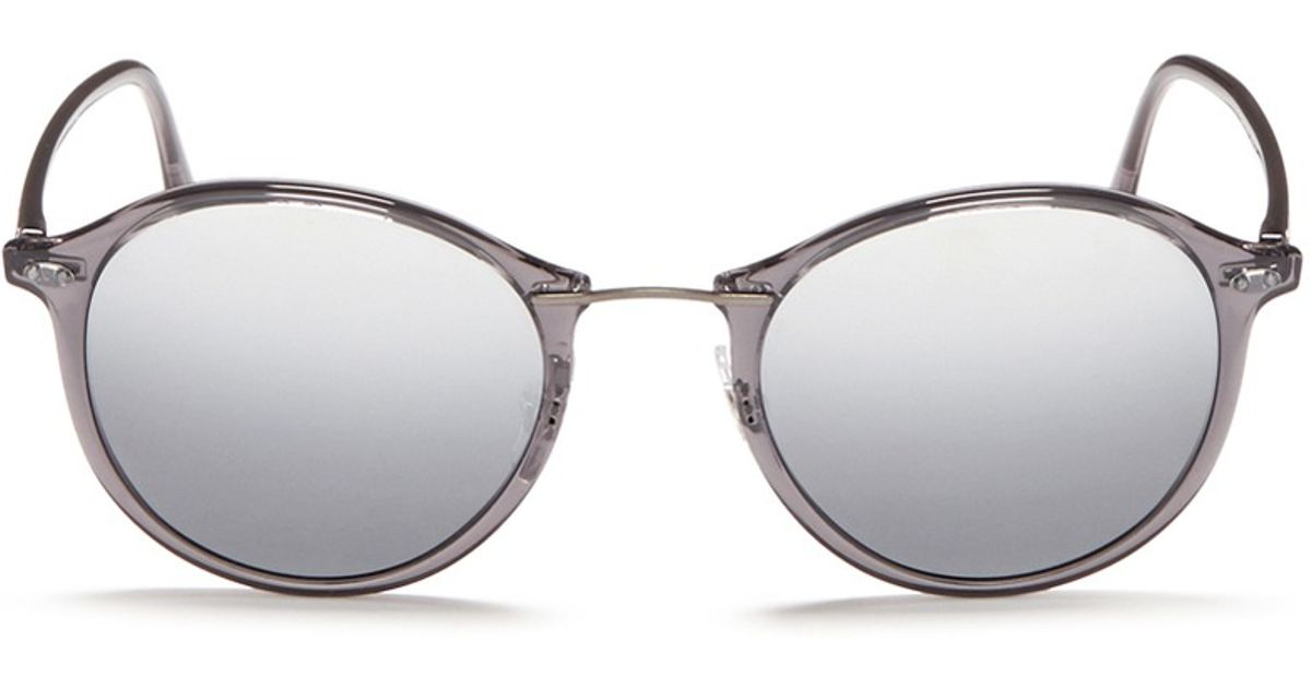 44c4d54d0dd Lyst - Ray-Ban  rb4242 Light Ray  Titanium Temple Round Sunglasses in Gray