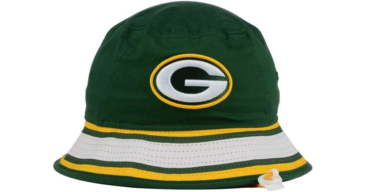 1203acc6c KTZ Green Bay Packers Team Stripe Bucket Hat for men