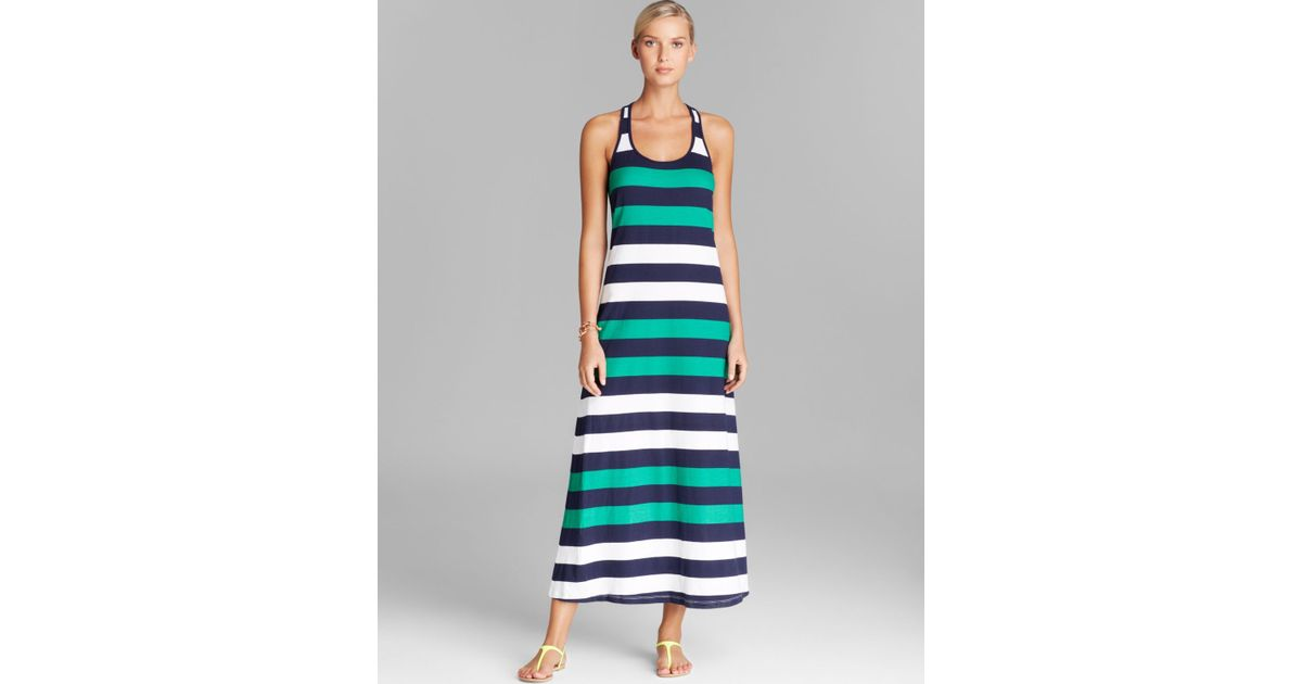 2907e9eb3b8e1 Tommy Bahama Rugby Stripe Long Swim Cover Up Tank Maxi Dress in Green - Lyst
