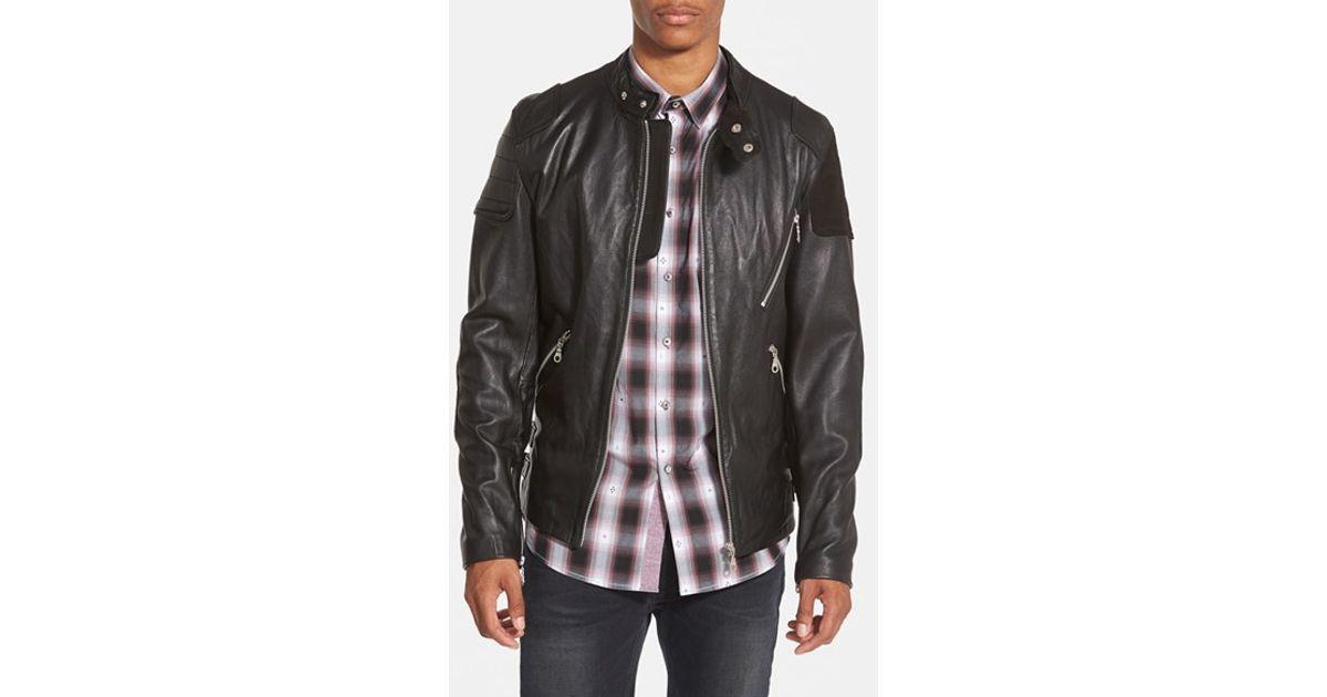 cc2d827b5 7 Diamonds - 'brando' Black Leather Moto Jacket With Suede Trim for Men -  Lyst