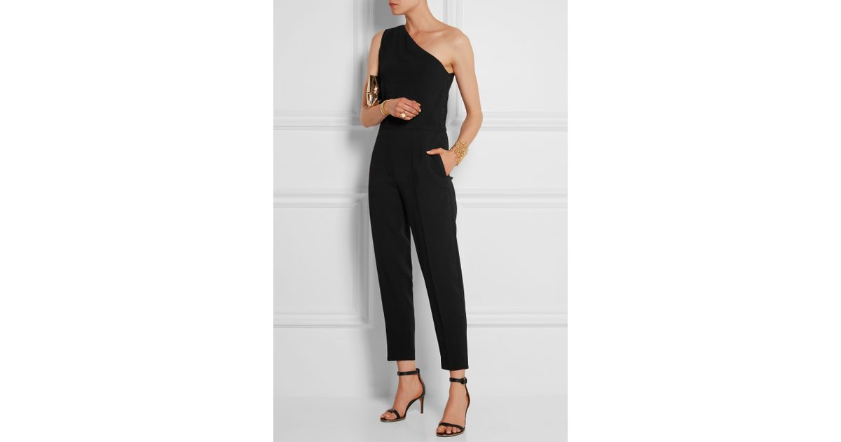 7fc50f4e9a7a Stella McCartney Faith One-shoulder Stretch-cady Jumpsuit in Black - Lyst