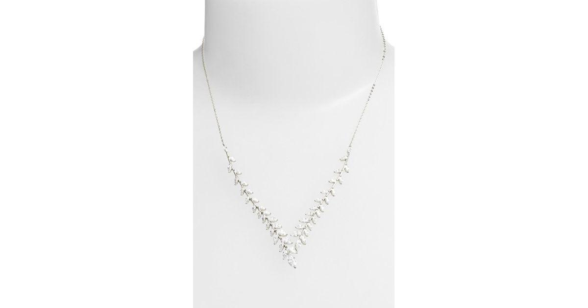 Lyst nadri josephine cubic zirconia pendant necklace in metallic aloadofball Images