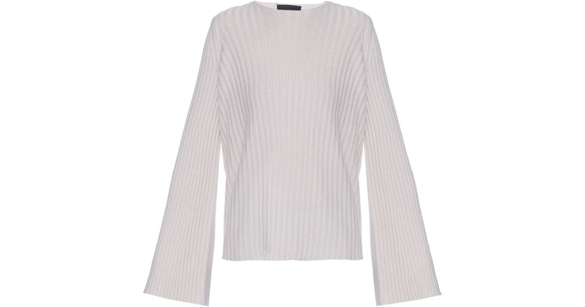 The row Pleata Wide-sleeve Ribbed-knit Sweater in Gray | Lyst