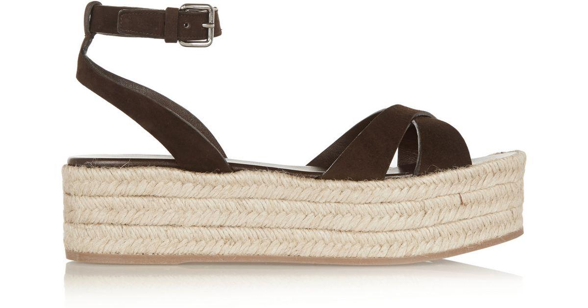 Lyst - Miu Miu Suede Espadrille Platform Sandals in Brown