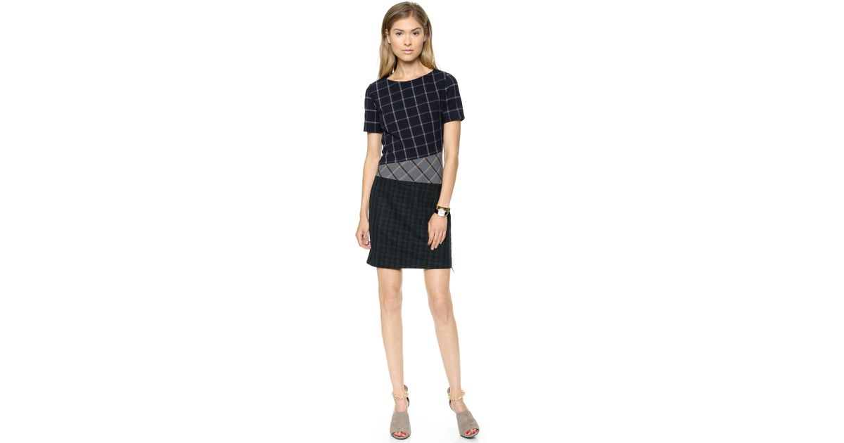 Band Of Outsiders Mixed Plaid Short Sleeve Dress Navy