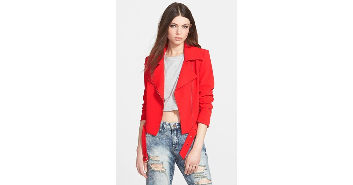 efc051d80 Lucy Paris Red 'frost' Belted Moto Jacket