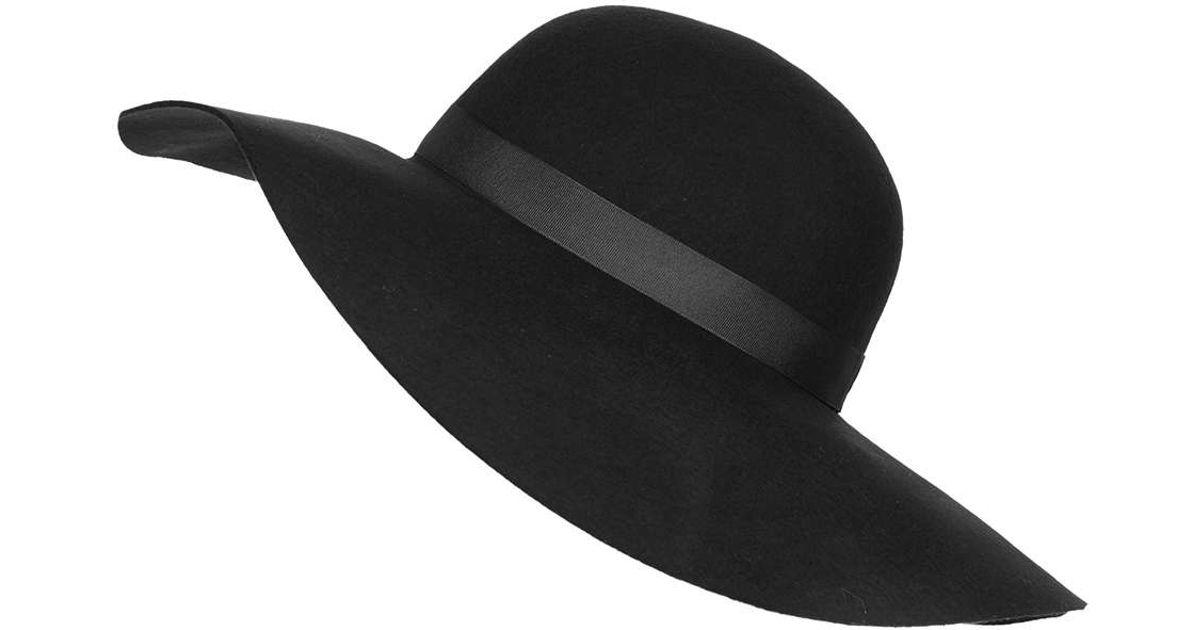 Lyst - TOPSHOP Straight Brim Floppy Hat in Black c3a2d834a64f
