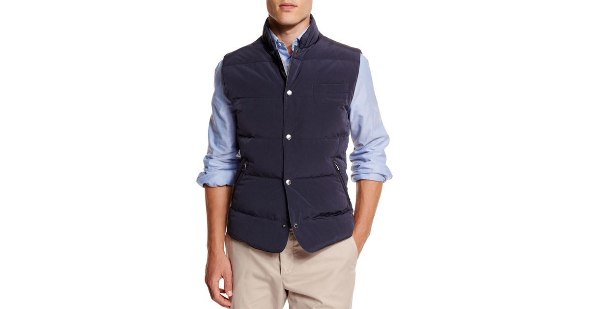 Brunello cucinelli quilted snap button vest in blue for for Mens shirts with snaps instead of buttons