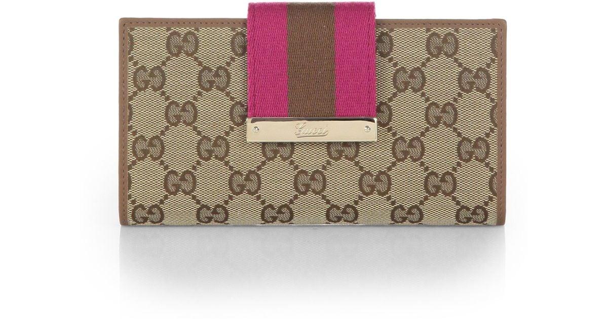 b0c3349f1c625 Lyst Gucci Las Original Gg Canvas Continental Wallet In Brown