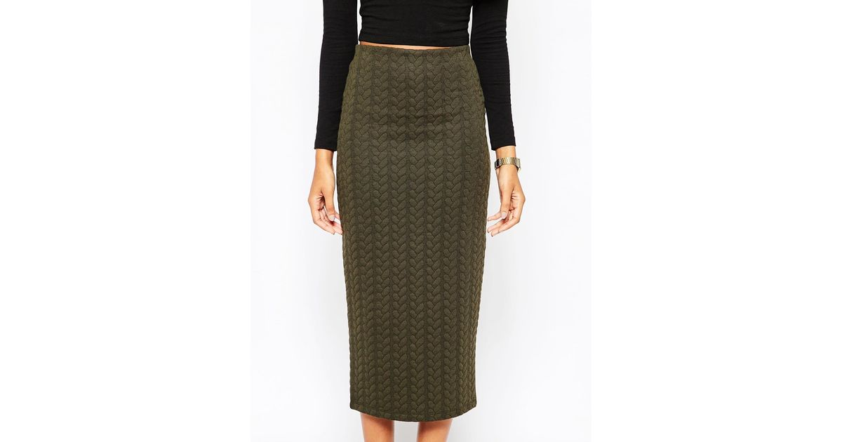 b35e49de9 ASOS Pencil Skirt In Cable Knit Texture in Natural - Lyst