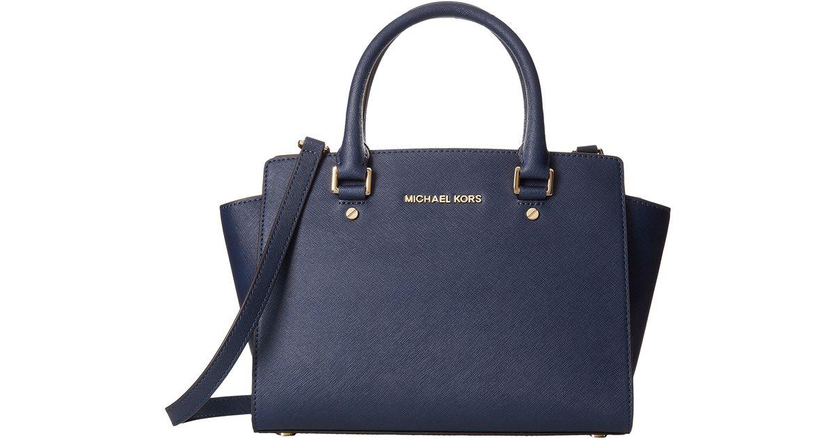 Michael Kors Selma Medium Laukku : Michael kors selma medium top zip satchel in blue