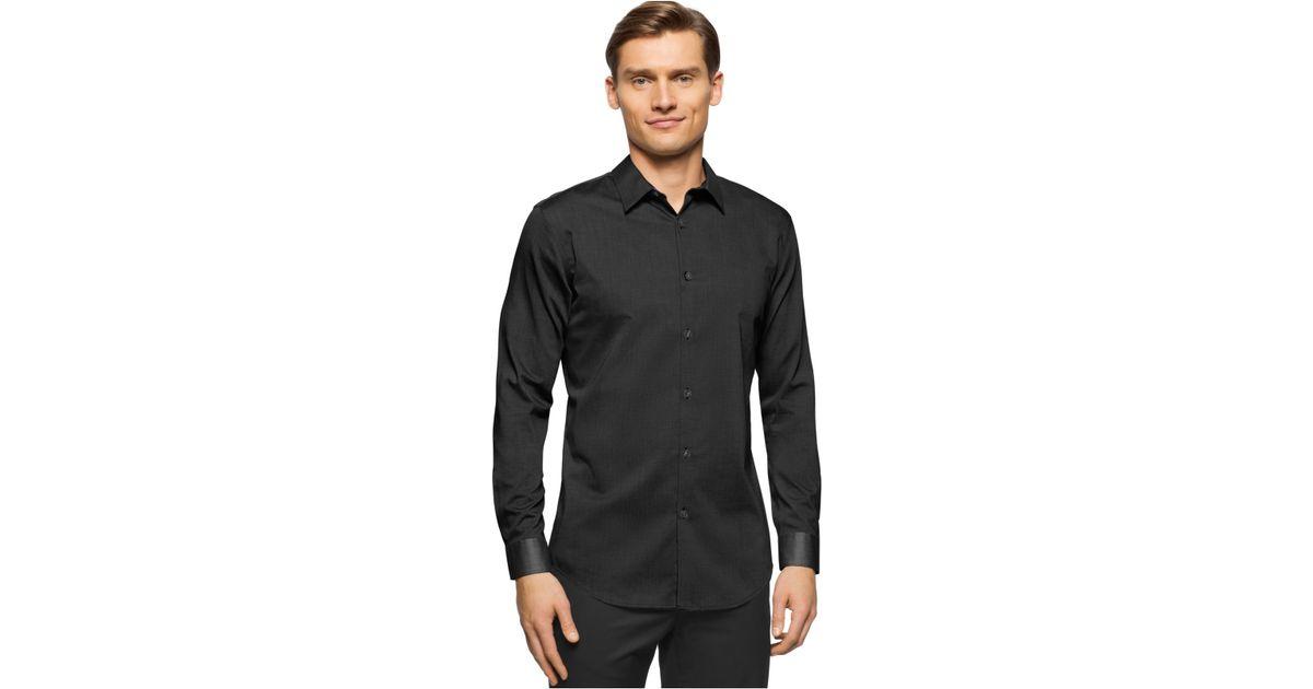 calvin klein brunswick slim fit long sleeve shirt in black. Black Bedroom Furniture Sets. Home Design Ideas
