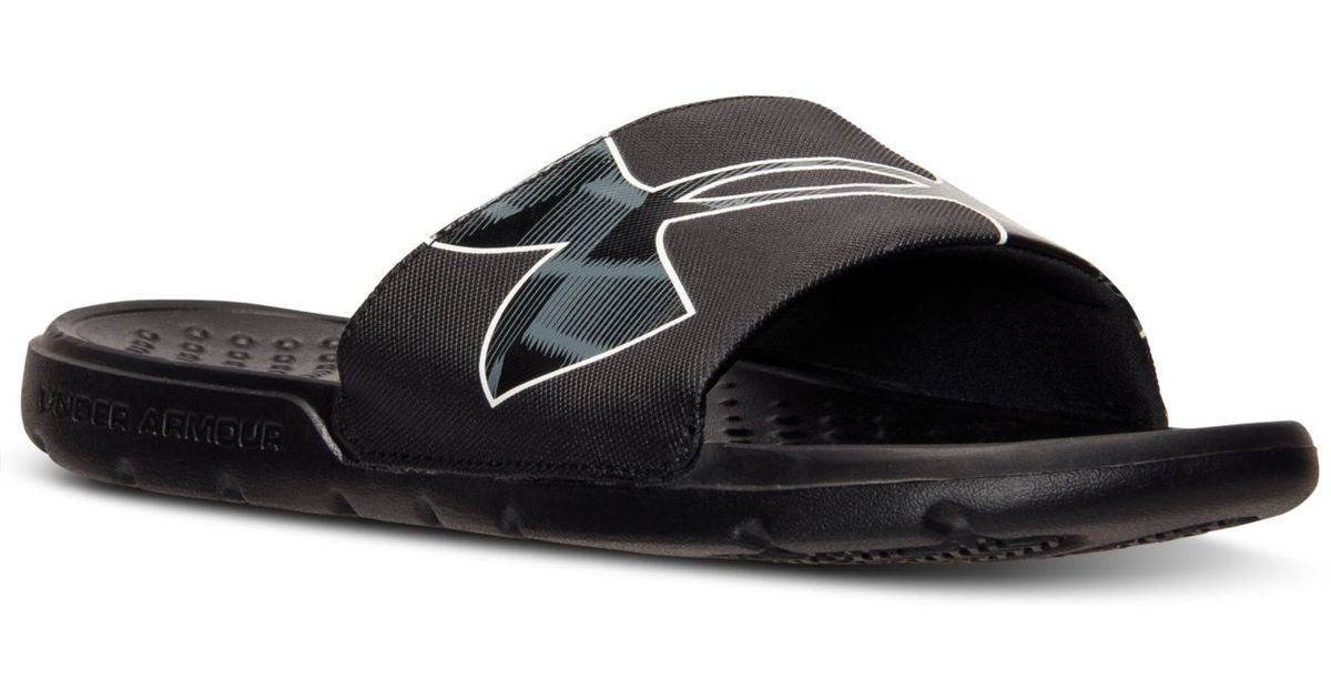 sports shoes 6732e eb574 Under Armour Men s Strike Warp Slide Sandals From Finish Line in Black for  Men - Lyst