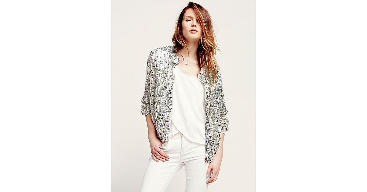 Free people Womens Shine Thru Sequin Cardigan in White | Lyst