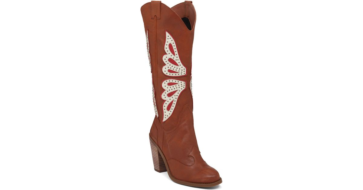 73e1944c7a1 Jessica Simpson Brown Caralee Leather Cowgirl Boots