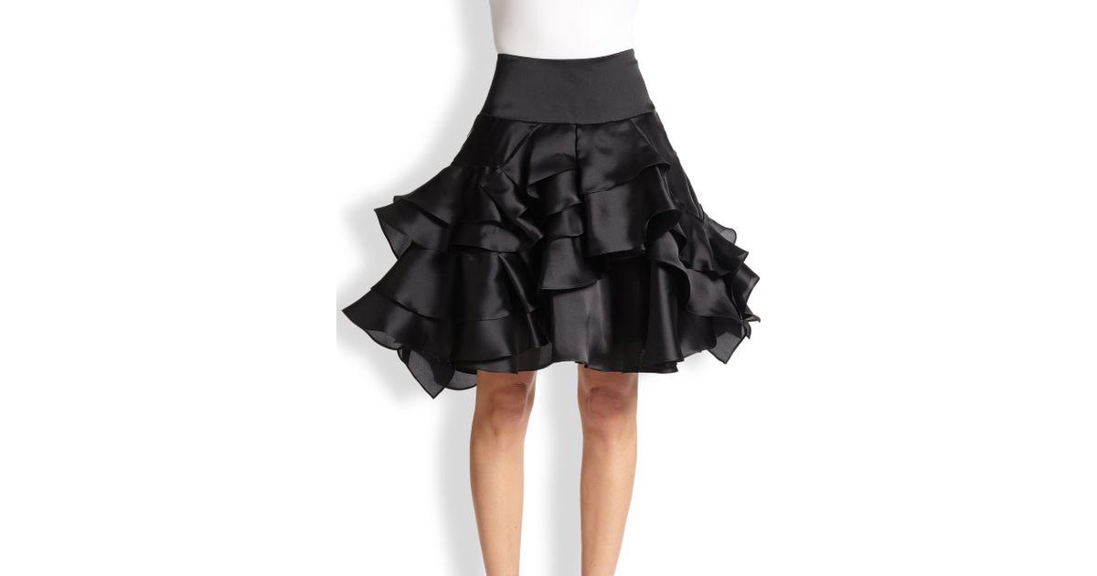 6e0d0cd4f11a MILLY Tara Silk Satin Tiered-Ruffle Skirt in Black - Lyst