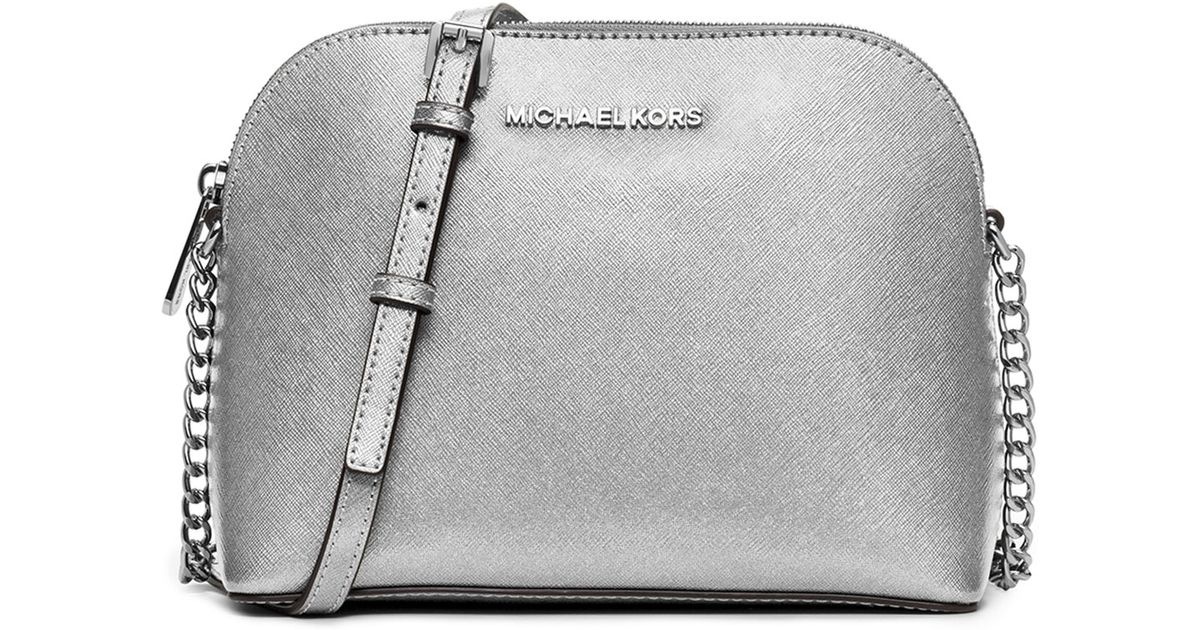 f09967a71842a Lyst - MICHAEL Michael Kors Cindy Large Dome Leather Cross-Body Bag in  Metallic