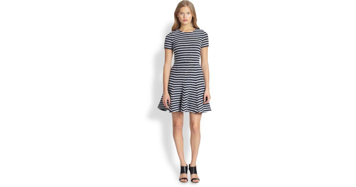 43792867cfa Theory Albita Striped BouclÉ Dress in Blue - Lyst