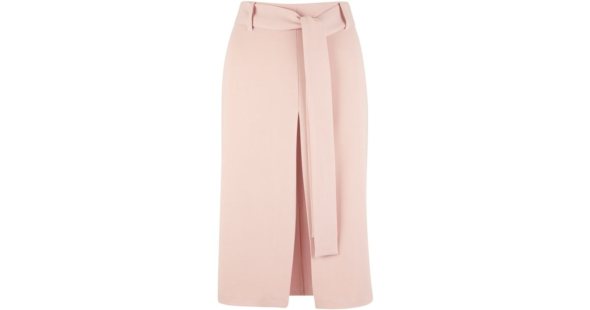 closet self tie belt vent pencil skirt in pink lyst