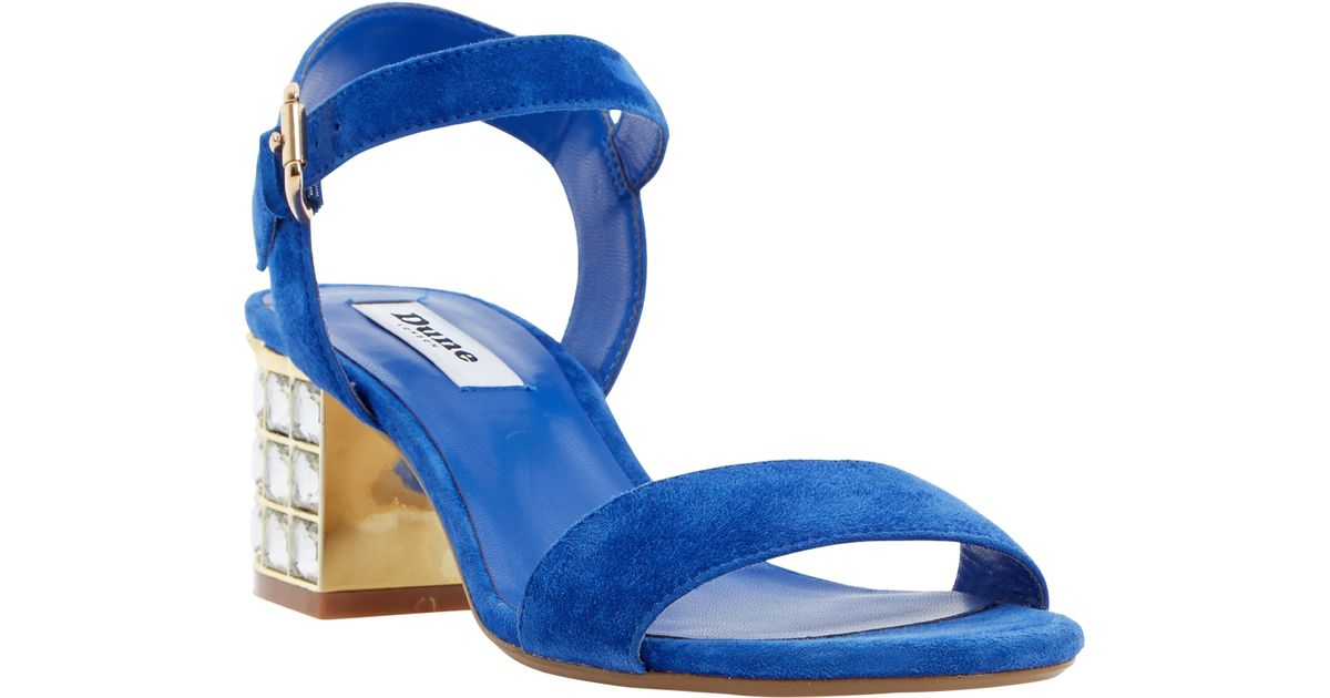 eb6d015fa89 Dune Harah Jewelled Block Heeled Sandals in Blue - Lyst