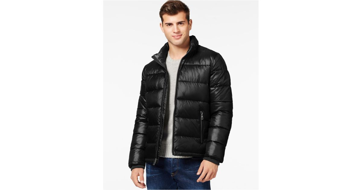 Guess Basic Puffer Jacket In Black For Men Lyst